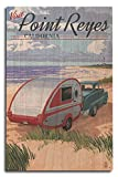 camper birch wall art - Point Reyes, California - Retro Camper on Beach (10x15 Wood Wall Sign, Wall Decor Ready to Hang)