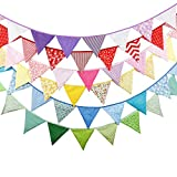 Generic floral84 : 20+ colours 12 Flags - 3. 2M Cotton Fabric Banners Wedding Bunting Decor Birthday Party Baby Shower Garland Tent Decoration