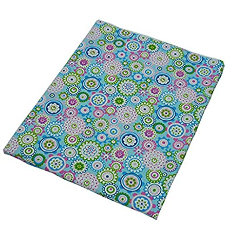 50 cm * 160 cm de color azul con Colorful Floral Impreso tela de algodón para coser ropa de cama Textil almohada Quilting Crafts Gamuza de material de ...