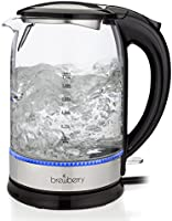 Brewberry Cordless Electric Glass Kettle 1.7l, Auto Shut-Off Feature w/ Boil-Dry Protection, 1500W, For Office and Home Use