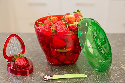 Large 3 Piece Strawberry Keeper/Container/Colander, Huller and Slicer Set Slice your Strawberries Easily and Evenly, Wash,Drain and Store Ideal to Keep Produce Fresh Delightfully Gift Boxed (Strainer Strawberry)