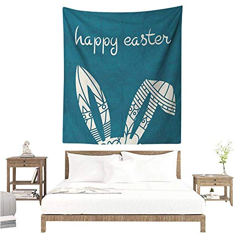 WilliamsDecor Polyester Tapestry Easter Bunny Ears with Ornate Circles and Rectangles on a Dark Toned Egg Background 70W x 84L INCH Suitable for Bedroom Living Room ()