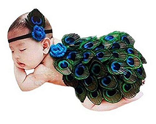 ACE SHOCK Newborn Baby Infant Cute Peacock Costume Photography Prop Outfit (0-6 Months) Green -