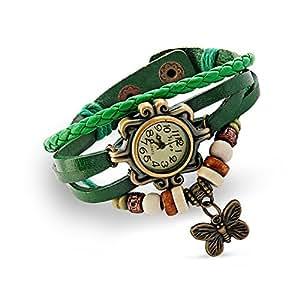 Ankin Luxury New Fashion Butterfly Pendant Quartz Retro Weave Wrap Around Leather Bracelet Quartz Woman Vintage Wrist Watch Designer Gift (Green)