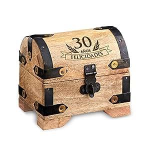 casa vivente cofre de madera clara para el 30 cumplea os baules para regalar regalo. Black Bedroom Furniture Sets. Home Design Ideas
