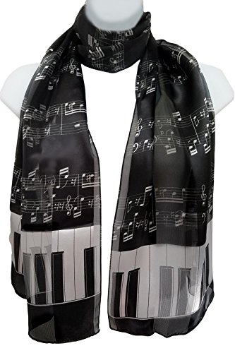 ii. Silk Feel Scarf - Piano Keys & Sheet Music White on Black