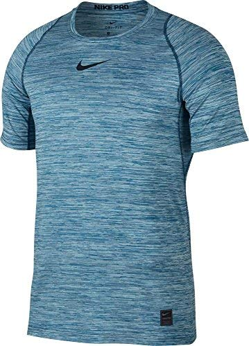 NIKE Men's Pro Heather Printed Fitted T-Shirt (Blue Force/Equator Blue, Large)