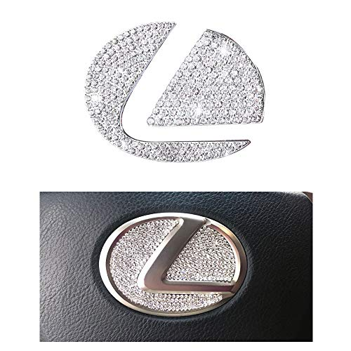 1797 Compatible Steering Wheel LOGO Caps for LEXUS Accessories Parts Covers Decals Stickers Bling Interior Inside Decorations NX RX IS ES GS LS GX LX RC LC 200t 300 300h 350 Women Men Crystal Silver