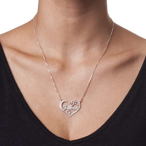 Sterling Silver Heart Name Necklace 22 Inches