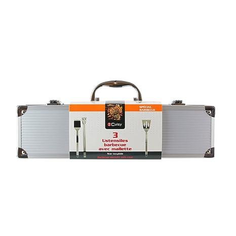 Cuisy - Maletín Especial KC2366 para Utensilios de Barbacoa Fabricado en Acero Inoxidable Gris, de 37 x 10,70 X 8 cm.