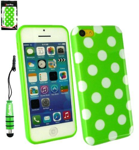 Emartbuy ® Eingabestift Pack für Apple Iphone 5c Grün Metallic Mini Eingabestift + LCD Displayschutzfolie + Grün / Weiß Polka Dots Gel Skin Cover / Schutzhülle