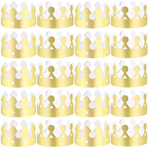 LOCOLO 30 Pieces Gold Paper Party Crowns (2 Style), Paper Crown for Birthday Party Baby Shower Photo Props