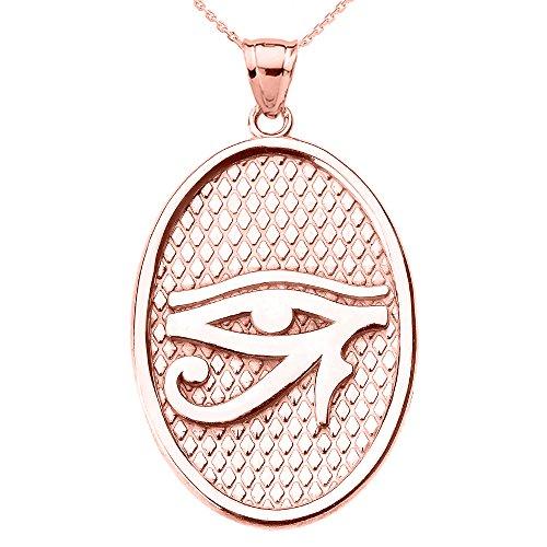 Collier Femme Pendentif 10 Ct Or Rose Œil De Horus Ovale (Livré avec une 45cm Chaîne)