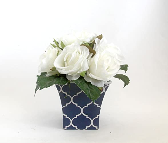 Amazon white roses spring table centerpiece roses arrangement white roses spring table centerpiece roses arrangement spring flowers silk flower arrangement mightylinksfo