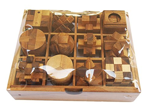 CMStar Twelve Brain Teasers with The Puzzle Showcase, 12 Wooden Game Gift Set, Handmade Wooden Puzzles, Set A