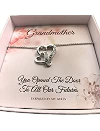 Sterling Silver Grandmother Double Hearts Necklace and...