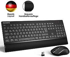VicTsing Tastatur Maus Set Kabellos USB, Funktastatur mit Maus, 2,4 GHz Wireless Tastatur QWERTZ Deutsches Layout mit...