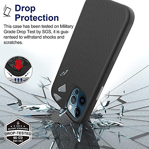 USLAI iPhone 12 Case, iPhone 12 Pro Case - Tough Rugged Shockproof Protective Phone Case, Magsafe Compatible, Raised Edges, Nice Grip, Slim Lightweight Case for Apple iPhone 12/12 Pro 6.1 inch, Black