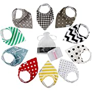 10-Pack Baby Bandana Bibs | 100% Cotton Front & Back | Ultra Soft & Super Absorbent Hypoallergenic Unisex Bibs for Teething Boys & Girls | Baby Shower Gift Set