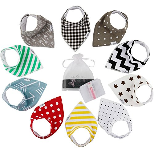 10-Pack Baby Bandana Bibs | 100% Organic Cotton Front & Back | Ultra Soft & Super Absorbent Hypoallergenic Unisex Bibs for Teething Boys & Girls | Baby Shower Gift Set