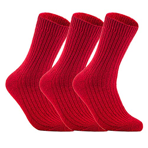 (Lian LifeStyle Men's 3 Pairs Knitted Wool Crew Socks One Size 8-11)