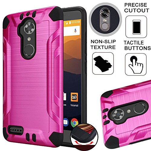 Slim Armor Case Compatible with ZTE Max XL N9560, ZTE Blade Max 3 Z986, Heavy Duty Brushed Metal Metallic Finish TPU Dual Layer Shock Impact Protection (Hot Pink) (Hot Pink Rubber Case)