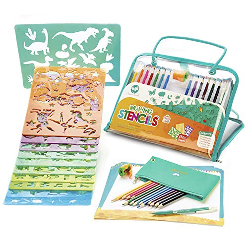 Drawing Stencils and Colored Pencils Arts and Crafts Set, 260+ Unique Reusable Designs, BPA-Free - Award-Winning Art Kit for Kids Ages - Art Kids Stencils