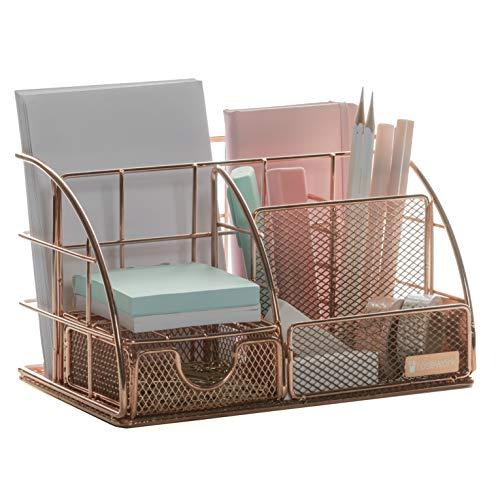 Rosework Rose Gold Desk Organizer for Women, All in One Desktop Organizer with Pen Holder, Pencil Holder and Paper Organizer, Office Organizer for Office Supplies and Desk Accessories.