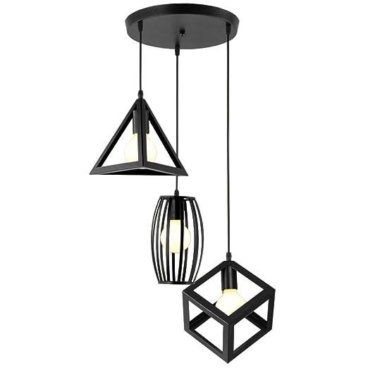 Plafonnier Jour Pour Moderne Lampes Salon Design Métal Suspensions Luminaire E27 Chambre 3 En Idegu Noir Abat Géométrique Lustre clJT3F1K