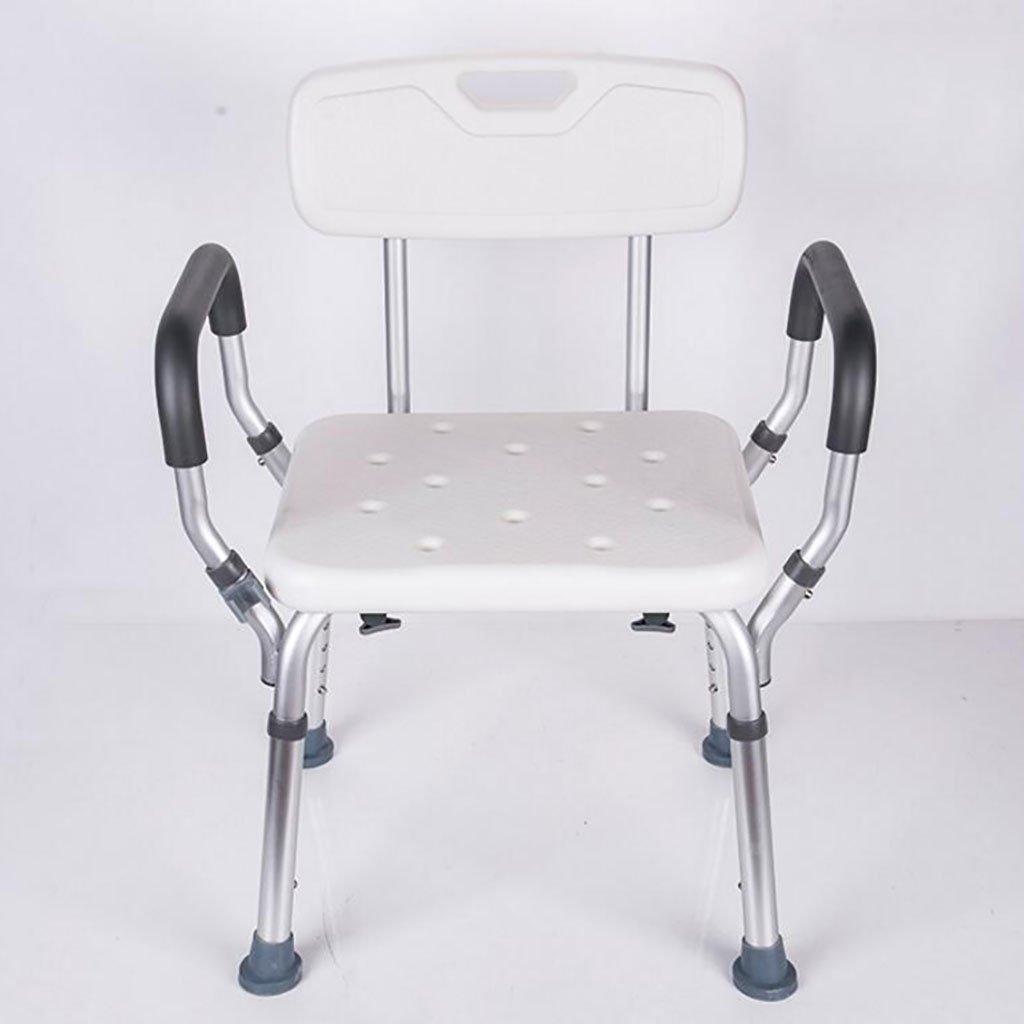 シャワースツール\シャワーチェア バスルームスツールアルミシャワーチェア障害援助ノンスリップバスチェア高齢者、身体障害者、妊婦、高さ調節可能 バスシートベンチ\バススツール B07DXFB614