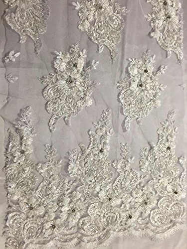 White Flowers Embroider And Heavy Beading On A Mesh Lace Fabric-prom-by the yard ()