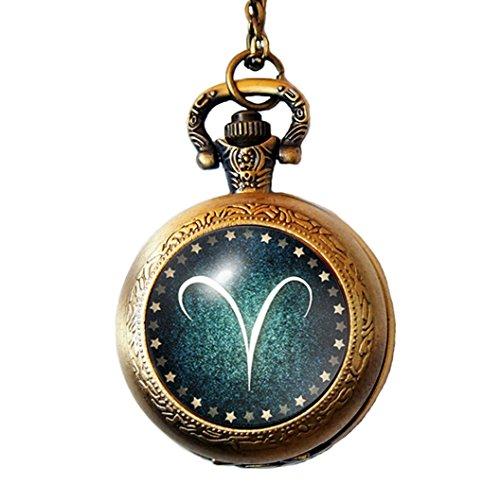 Joyplancraft Zodiac Pocket Watch Twelve Constellation Aries Glass Dome with Brass Chain Watch Necklace
