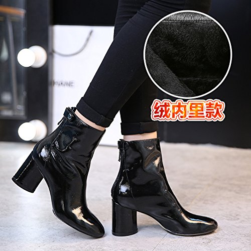 Winter Boots velvet Black Boots All Match Leather Shoes GUNAINDMXShoes Martin qBf6EE