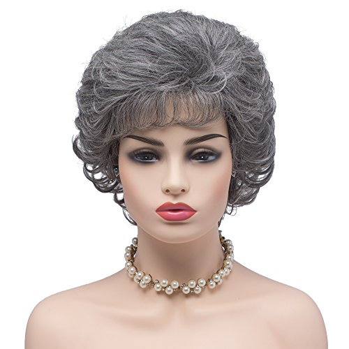 BESTUNG Ladies Silver Grey Short Curly Synthetic Full Hair Wigs Natural Wavy Fluffy Cosplay Grandma Costume Wig for Women (60/2#-Silver -