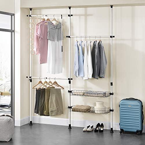Casa ® Telescopic Wardrobe Clothes Rail Hanger Rack Wardrobe En
