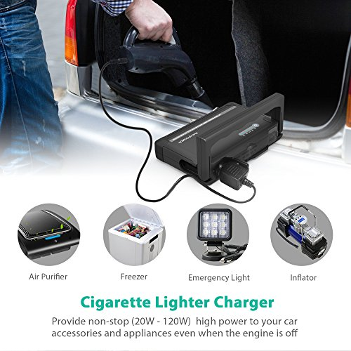 RAVPower Car Jump Starter 600A Peak 18000mAh 12V (Up to 6L Gas or 3L Diesel Engine) External Battery Pack with Dual iSmart USB Ports Built-in LED Flashlight Car Battery Booster (Black) by RAVPower (Image #3)