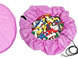 Blue Gate Hobby Toy Organizer Storage Drawstring Bag + Mesh Storage Bag Small Items ~ Children's Activity Play Mat Beach, Lawn, Camping ~ Pink