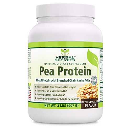 Herbal Secrets Pea Protein Powder Dutch Chocolate Flavor 2 Lbs - Non-GMO Vegetable Protein No Soy, No Dairy