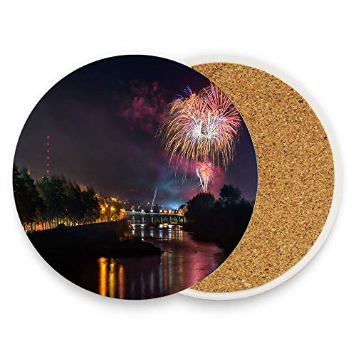 Cute Ceramic Coasters for Drinks, 1 piece Round Coaster Protection from Drink Rings - Strabane Halloween Fireworks Display 2018