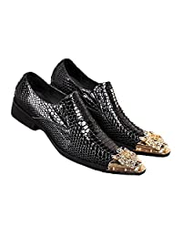 2 Color US Size 5-12 Fashion Leather Mens Dress Slip On Steel Toe Loafers Shoes