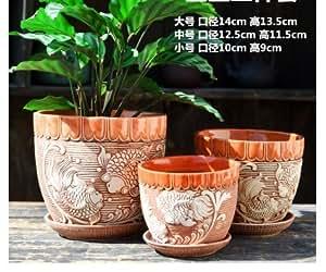 Hecho a mano de cerámica Home/Garden diseño de pez koi flor maceta con platillo bandeja pequeña–Set de 3
