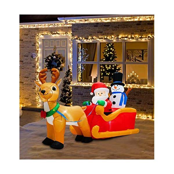 PARAYOYO - Babbo Natale gonfiabile con renna e pupazzo di neve per decorazioni natalizie 1 spesavip