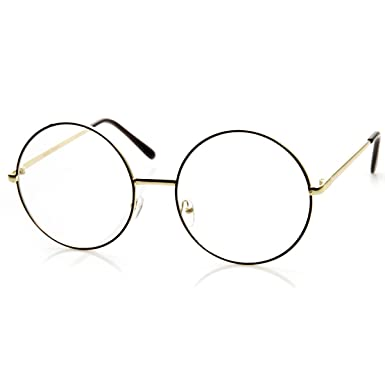 zerouv large oversized metal frame clear lens round circle eye glasses black gold