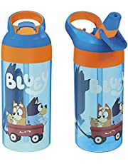 Zak Designs Bluey Kids Water Bottle with Spout Cover and Built-in Carrying Loop, Made of Durable Plastic, Leak-Proof Water Bottle Design for Travel (17.5 oz, Pack of 2)