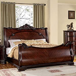 bellefonte baroque style brown cherry finish queen size bed frame set - Cherry Bed Frame