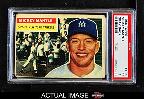 1956 Topps # 135 Mickey Mantle New York Yankees (Baseball Card) PSA 1 - POOR Yankees