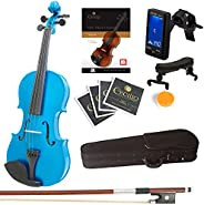 Mendini Solid Wood Violin with Tuner, Lesson Book, Extra Strings, Shoulder Rest, Bow and Case