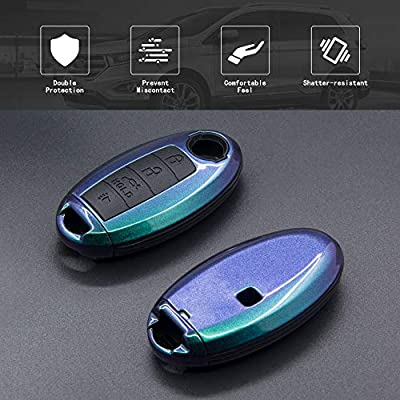 TANGSEN Key Fob Case for Infiniti EX35 FX35 FX37 FX50 JX35 M35H M37 M56 Q70 QX56 QX60 QX70 G25 G35 G37 M35 M45 Q40 Q50 Q60 4 Button Keyless Entry Remote Optically Variable ABS Black Silicone Cover: Automotive
