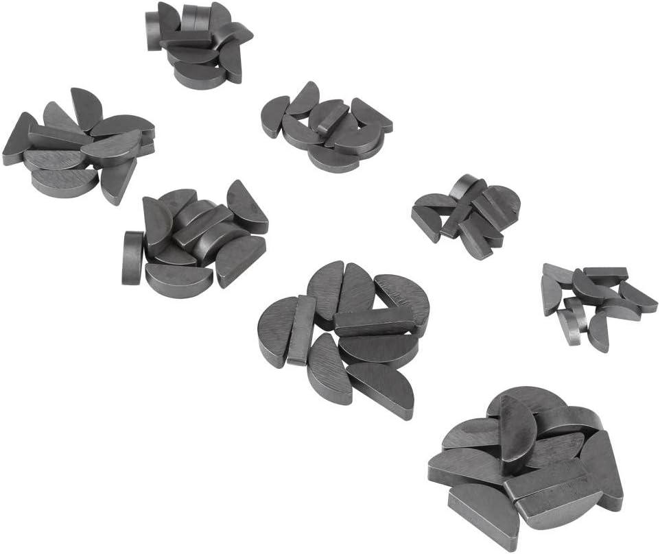 80pcs Durable Mechanical Industry Metal 8 Different Sizes Woodruff Keys Fasteners Assortment Kit Set Woodruff Keys