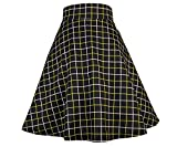 Modeway Women's Floral High Waist Flared Casual Knee Length Pleated Skater Skirt (Large, Lattice)